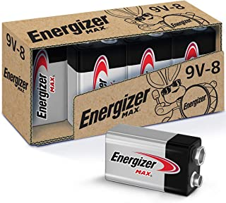 Energizer Max 9V Batteries, Premium Alkaline 9 Volt Batteries (8 Battery Count)
