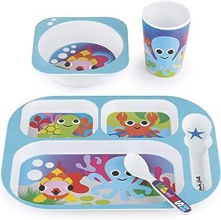 French Bull 4pc Toddler Kids Feeding Melamine Tableware Flatware BPA Free Dishwasher Safe, Durable Plate, Cup, bowl, Divid...