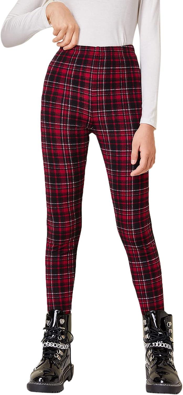 40% OFF Cheap Sale Year-end gift Floerns Girls Plaid Print Elastic Leggings Pan Waist Long Casual