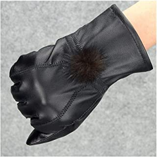 SHENTIANWEI Women's Leather Gloves Season Hair Ball Thin Section/Thickening Section Cute Warm Leather Gloves (Color : Thicken, Size : L)