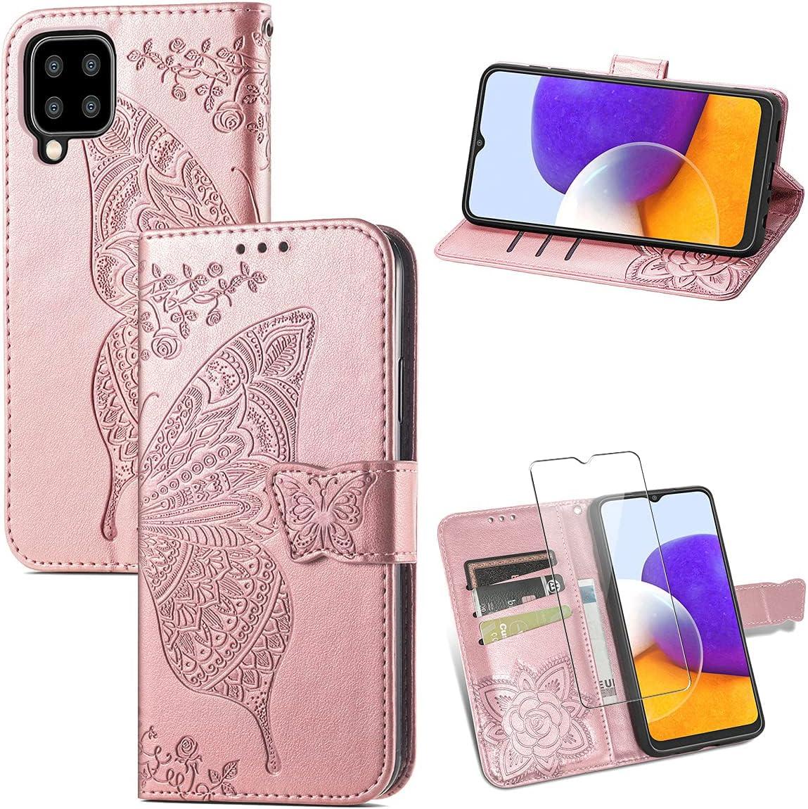Reshias Funda para Samsung Galaxy A22 4G, Rosa PU Cuero Función de Soporte Billetera Flip Protectora Carcasa con UNO Cristal Templado Protector de Pantalla para Samsung Galaxy A22 4G (6.4 Pulgadas)