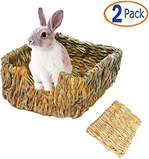 Tfwadmx Rabbit Grass Bed, Natural Straw Woven Grass Bed Bunny Hay Mat for Rabbit Hamster Gerbil Chinchilla Guinea Pig Mice Other Small Animals