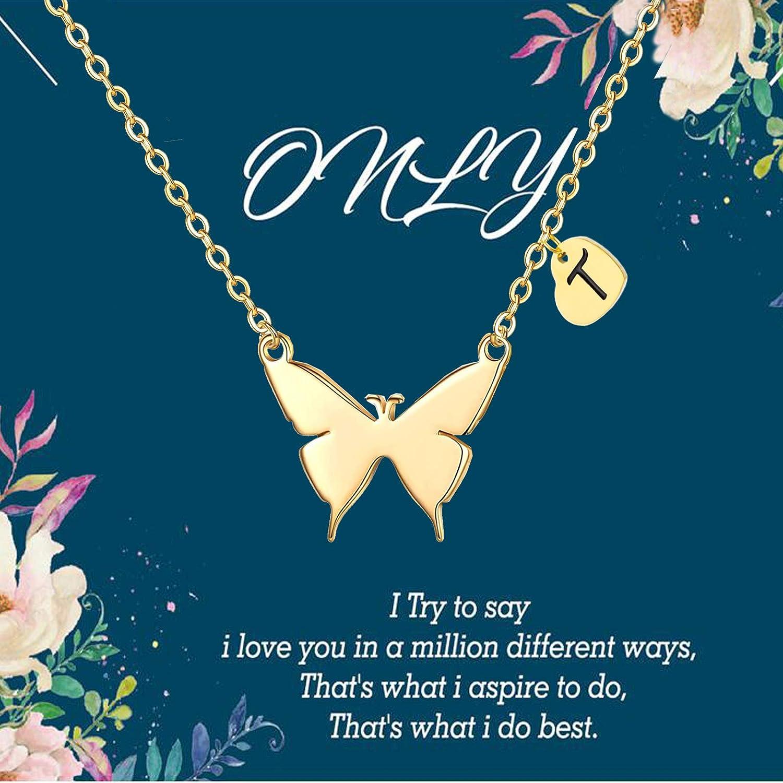 SEMBILAN Initial Kansas City Mall Ranking TOP4 Butterfly Necklace Heart Plat Gold 14K