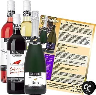 ST. REGIS Cabernet Sauvignon, Chardonnay, Rosé, Brut Sparkling Non-Alcoholic Champagne & Wine Experience Bundle with Chrom...