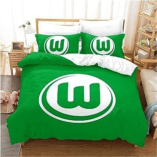 HOXMOMA VFL Wolfsburg Bettwäsche Set, 3D Wolfsburg Football Club Bettbezug mit Kissenbezügen, Unisex dekorative Fußball Quilt Covers