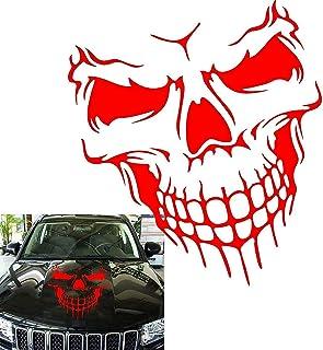 "Best Car Exterior Decoration - Xotic Tech Auto Front Hood Vinyl Graphic Sticker - Truck Trailer Boat Door Window Decal - 1pcs 22"" Red Skull Shape Review"