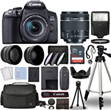 Canon EOS 850D / Rebel T8i Digital SLR Camera Body w/Canon EF-S 18-55mm f/4-5.6 is STM Lens 3 Lens DSLR Kit Bundled with Complete Accessory Bundle + 64GB + Flash + Case & More - International Model