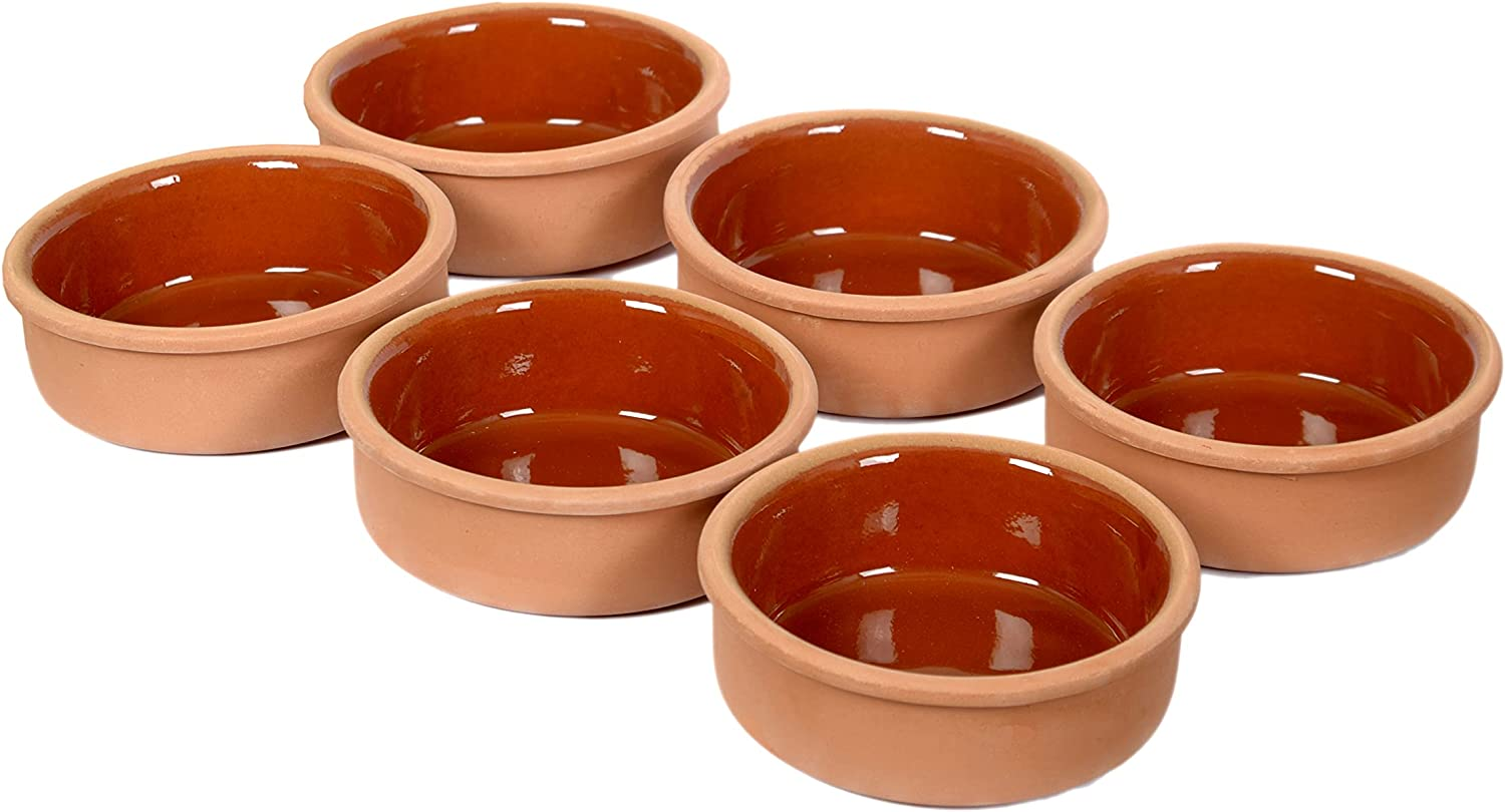 TB Cooking Clay Bowl Set Oven Bake Terracotta Ancient, Serving for Cooking Appetizer Snack Cereal Traditional Turkish Mexican Casseroles 6pcs