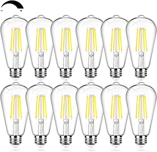 12Packs Vintage LED Edison Bulbs, 60W Equivalent 7W, 800Lumens, Dimmable ST64 Antique LED Filament, Daylight White 5000K, ...