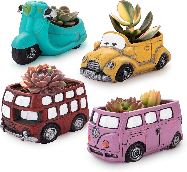 4Pack Cute Succulent Pots, Retro Creative Small Succulent Planter Pots for Mini Plant with Drainage Hole Cactus Plant Pots for Succulent Cactus Herbs or Home Office Desk Shelf Window Décor