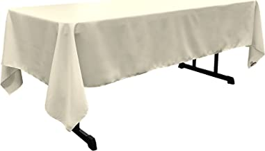 LA Linen Polyester Poplin Rectangular Tablecloth, 60 by 126-Inch, Ivory