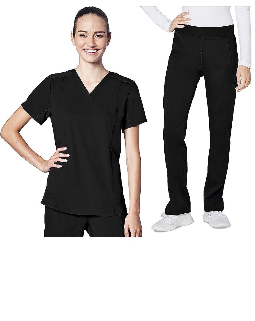 Adar Responsive Scrub Set for Women - Classic V-Neck Scrub Top & Yoga Track Pants