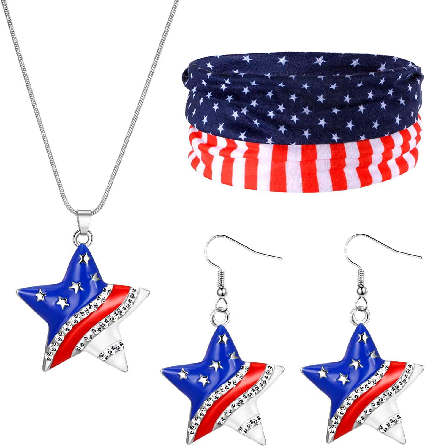 Flag Headband American USA Flag Star Pendant Necklace Independence Day Earrings Set