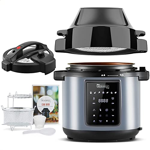 popular MICHELANGELO Air Fryer Pressure Cooker Combo discount 6QT, All-in-1 Pressure Cooker with Air Fryer - Two Detachable Lids for Pressure Cooker, Pressure Fryer, Air 2021 Fryer, Rice,Slow Cooker,Steamer & Warmer 6Qt sale