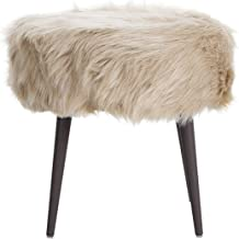 Memomad Pouffe Stool Andes - Stylish Stool Made of Fur: upholstered Puff with Chromed Metal Legs and Romantic Design for L...
