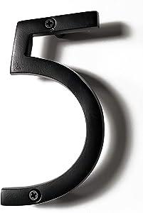 NACH HH-SDW6-BLK Shadow House Address Number - #5, Black Aluminium, 6