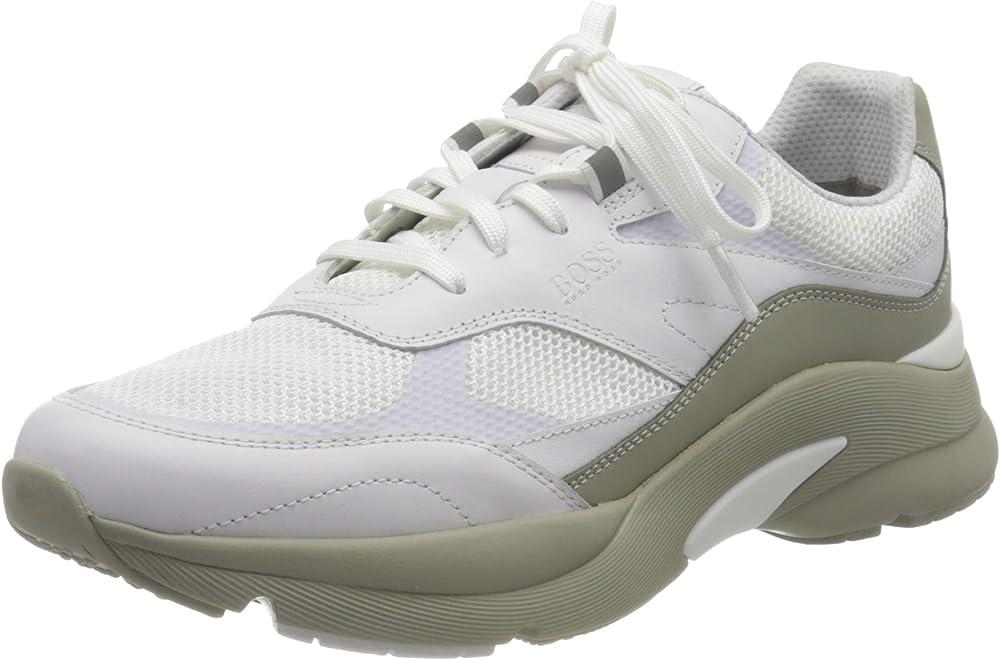 Hugo boss ardical_runn_ltme scarpe sneakers da ginnastica per uomo in pelle sintetica e tela 50452049A