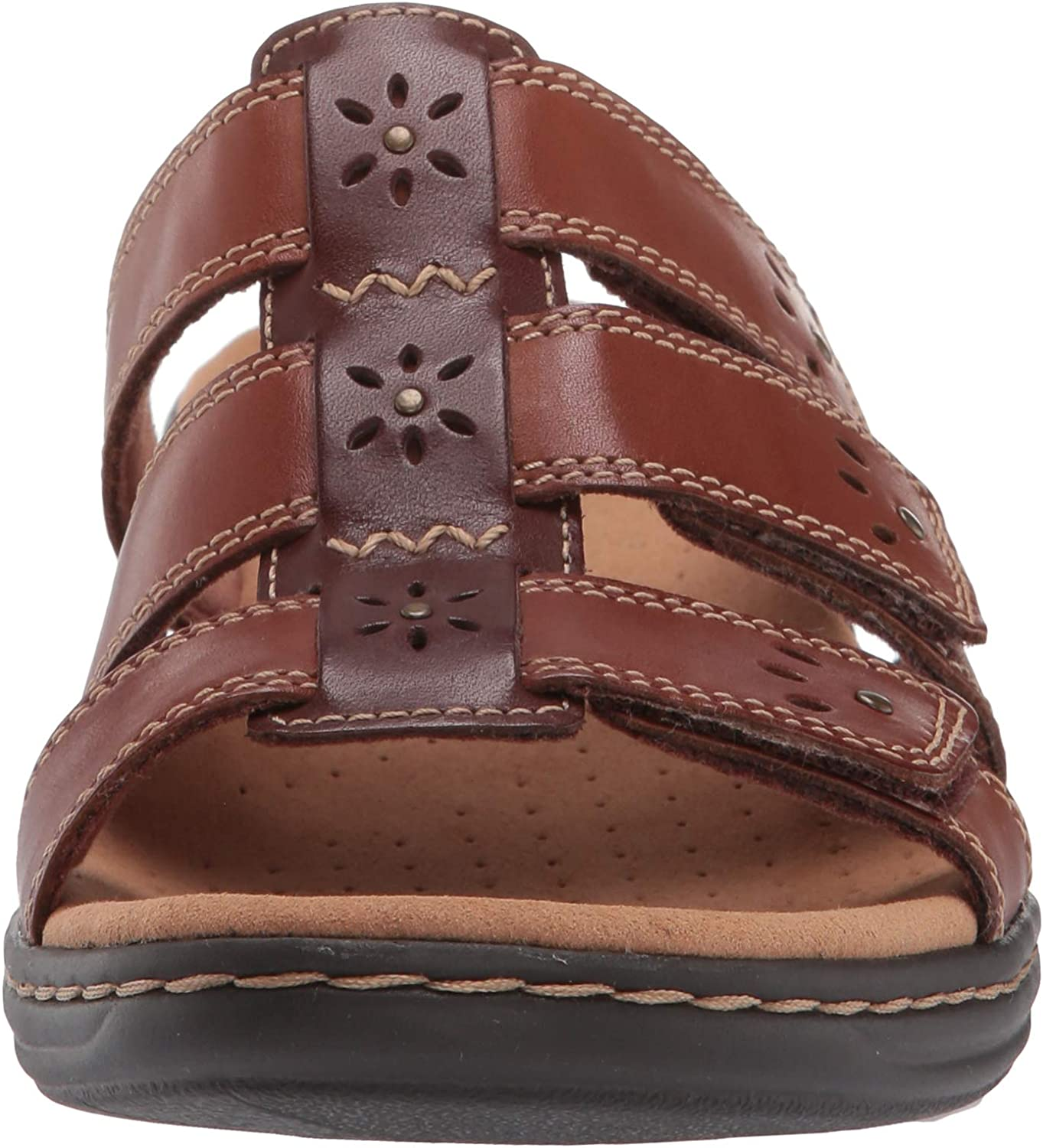 Clarks Women's Leisa Spring Slide Sandal Brown Multi Leather