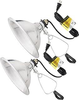 چراغ روشنایی لامپ لامپ 2 بسته ای ساده Deluxe با بازتابنده آلومینیومی 8.5 اینچ تا 150 وات E26 / E27 سوکت (بدون لامپ در آن موجود نیست) 6 پا 18/2 SPT-2 سیم بند ناف UL ذکر شده
