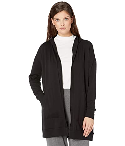 Eileen Fisher Hooded Long Jacket w/ Pockets (Black) Women