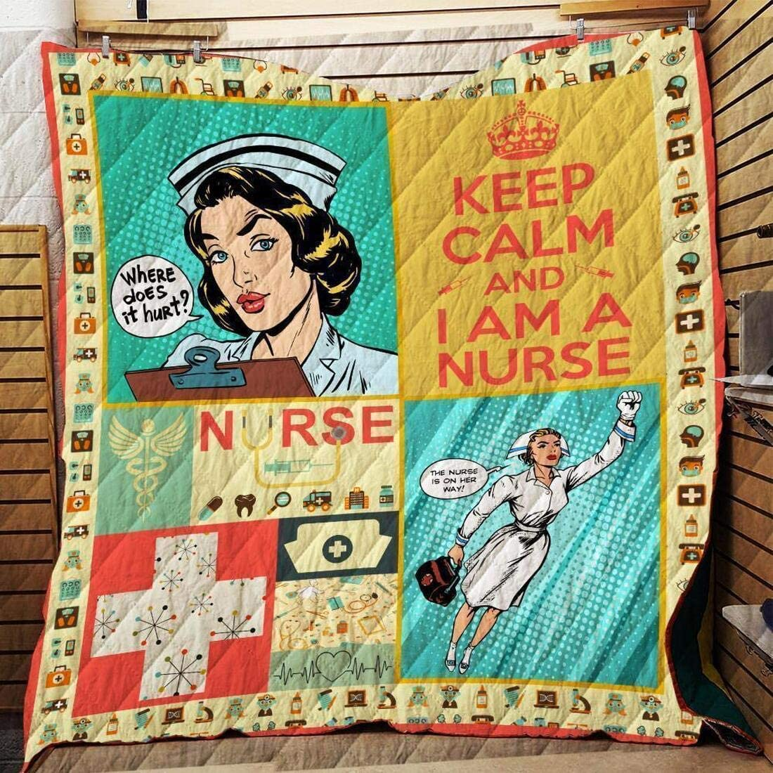 ENCYCOM Nurse Retro In a popularity Quilt Ultra-Cheap Deals Patrick's - Gift Size Day King