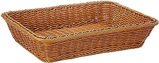 ZB - Cesta de Mimbre para Pan de 16 Pulgadas, de Tela Larga, para Comida, Frutas, Verduras, Servir, Restaurante, Color marrón Miel