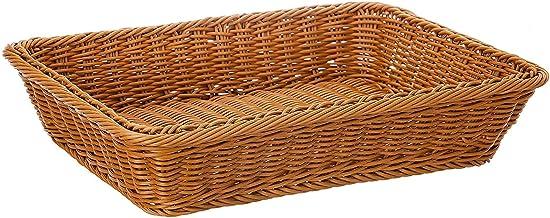 ZB - Cesta para pan de mimbre de 16 pulgadas, tejido largo, para alimentos, frutas, verduras, servicio de restaurante, color marrón miel