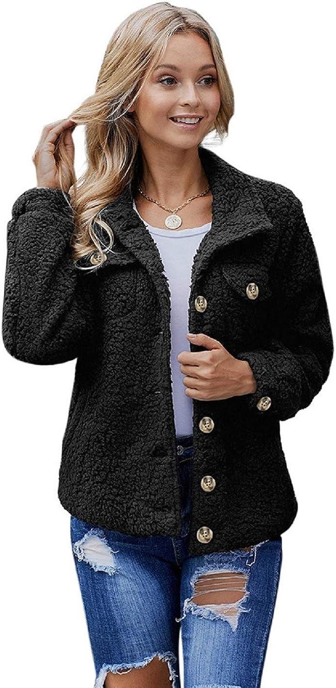 CHARTOU Women's Lapel Collar Faux Sherpa Fuzzy Button-Down Long Sleeve Short Jacket