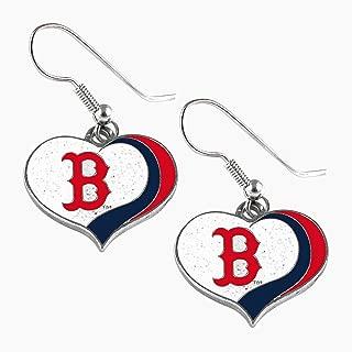 aminco MLB Boston Red Sox Glitter Heart Earring Swirl Charm Set