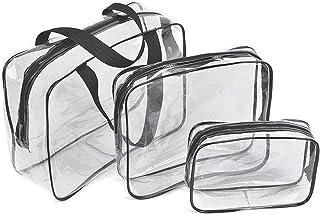 Borse da Viaggio Impermeabili Trasparenti, 3 Pcs Sacche Trasparenti da Aereo Borse per Cosmetici con Zip Beauty Case da Bo...