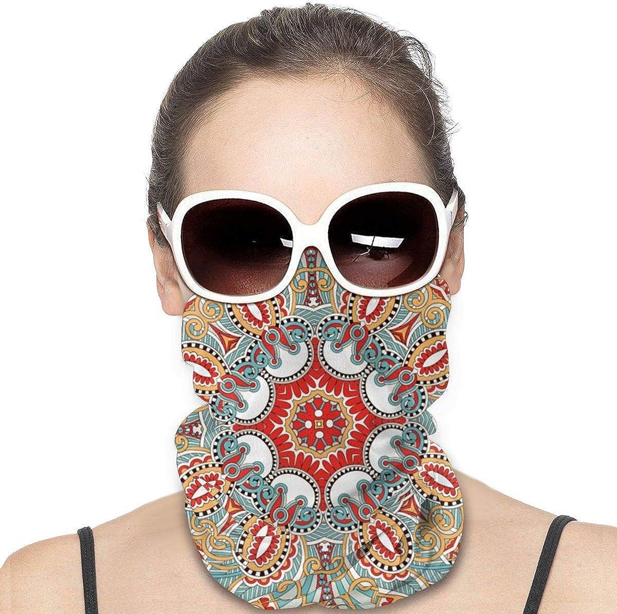 JinSPef Motorcycle Masks for Men - Colorful Cute Chic Retro Red Teal Kaleidoscope Pattern Girlys for Men Neck Gaiter Head Bands Neck Warmer Men Headscarf Sun Mask