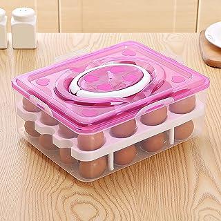 Organisateurs de réfrigérateur de cuisine avec 2 étages et 32 compartiments avec couvercle et poignée (rose)