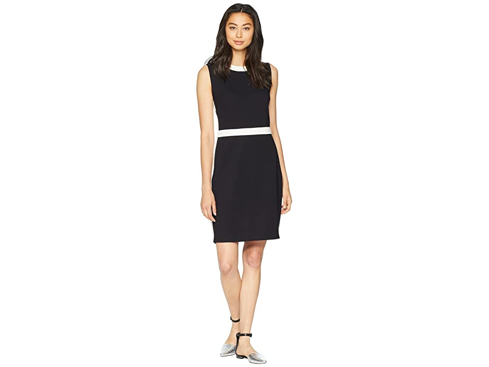 Juicy Couture Color Block Ponte Fitted Dress (Pitch Black Angel) Women