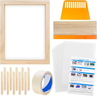 Anezus Screen Printing Starter Kit,10 x 14 Inch Wood Silk Screen Printing Frame White Mesh Screen Printing Squeegees Inkje...