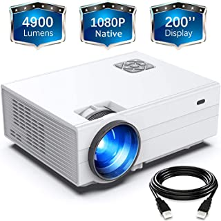 """FunLites Projector,+80% Brightness HD 4900LUX Video Projector with 200"""" Display 60,000 Hrs Led Home Theater Projector, 108..."""