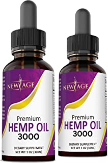 3000 Hemp Oil Extract for Pain & Stress Relief - 2 Pack - Hemp Extract - Grown & Made in USA - Natural Hemp Drops - Helps ...