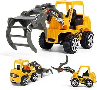 FOLWME Mini Ingeniero Tractor de Juguete Juguete Camión volquete Modelo Clásico Juguete Aleación Coche Niños Juguetes Ingeniería Vehículo - Amarillo