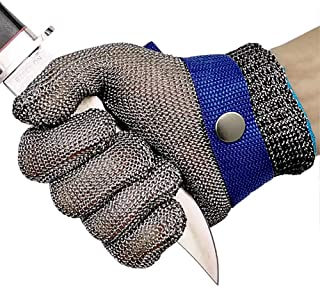 Cut Resistant Gloves Stainless Steel Wire Metal Mesh Butcher Safety Work Gloves for Cutting, Slicing Chopping and Peeling ...