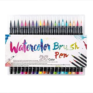 SKY-TOUCH 20 Pieces Color Brush Pens Set Watercolor Brush Pen Color Markers for Painting Cartoon Sketch Calligraphy Drawing Manga Brush