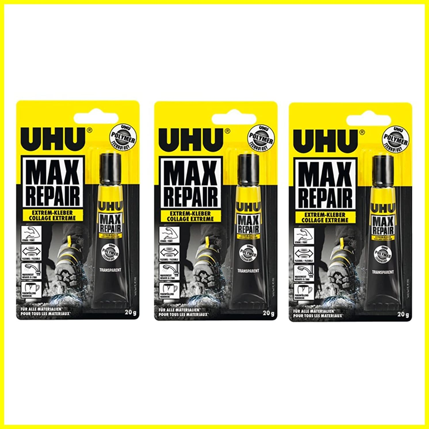 3 x UHU Max Repair Extreme Adhesive Transparent Glue Water Resistance- 20g Tube