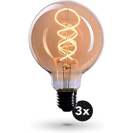 CROWN LED Edison 3x Bombilla LED – Bombilla E27 – Bombilla LED E27 Regulable – 4W, Blanco Cálido, 230 V, EL19 – Iluminación de Filamento Estilo Retro / Vintage – Calificación Energética A+