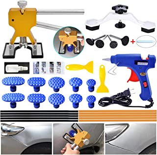 ARISD Auto Paintless Dent Repair Kits - Golden Car Dent Puller with Bridge Dent Puller Kit for Car Hail Damage and Door Dings Repair