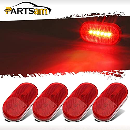 Pack of 8 Clear Lens 4 Amber /& 4 Red Rectangles LED 6 Diodes Sealed Indicator Light Clearance Lamp Fender Marker Bulb w//Snap-on Truck Tow Pickup Boat Van RV Coach SUV 12v DC Dustproof TT12 Meerkatt