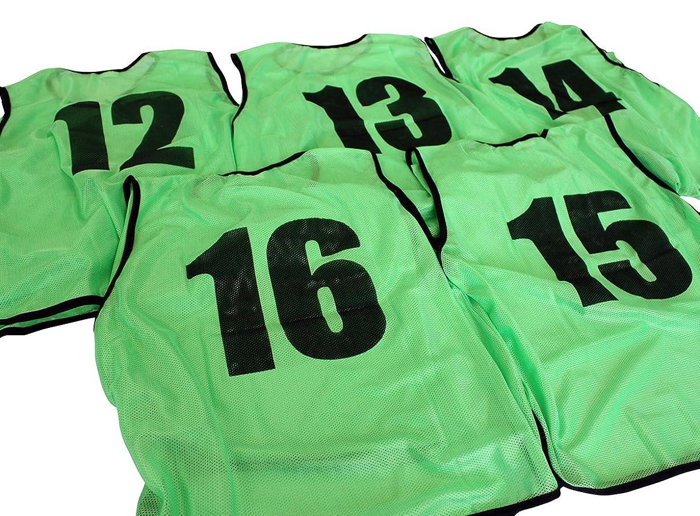に慣れフレア称賛ビブス ゼッケン 12-16番 5枚セット 3サイズ 全11色 【 フットサル サッカー バスケ イベント等 】 2セット(10枚以上)以上ご注文で収納袋付き