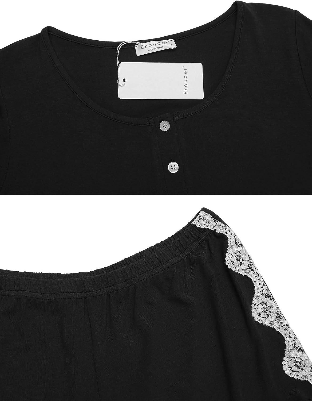 Ekouaer Pajamas Sets Short Sleeve Sleepwear Womens Pjs Sets Ladies Two Piece Nightwear Soft Lounge Sets S-XXL