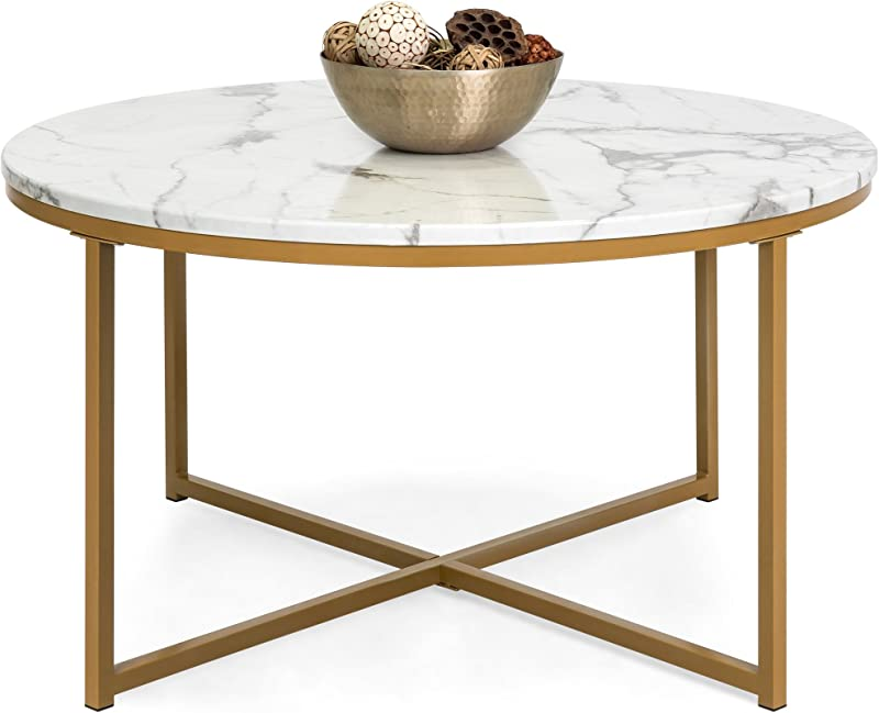 Best Choice Products 35in Faux Marble Modern Living Room Round Accent Side Coffee Table With Metal Frame White Gold