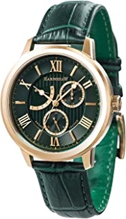 Men's Cornwall Stainless Steel Japanese-Quartz Watch with Leather Strap, Green, 20 (Model: ES-8060-02