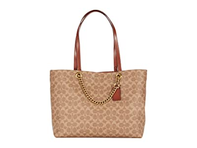 COACH Signature Chain Convertible Tote (B4/Tan Rust) Handbags