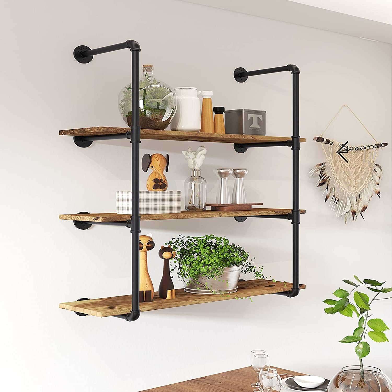 20 Tier Industrial Shelves Brackets, Wall Mount Iron Pipe Shelves, Pipe  Floating Shelves for DIY Open Bookshelf Office Kitchen Home Bar Plank Not  ...