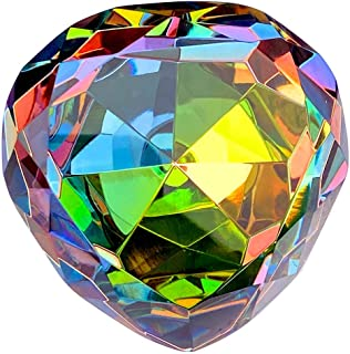 Amlong Crystal Diamond Paperweight, Heart Shaped, 80mm, Iridescent